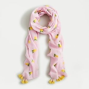 Organic Cotton Embroidered Scarf with Lemons